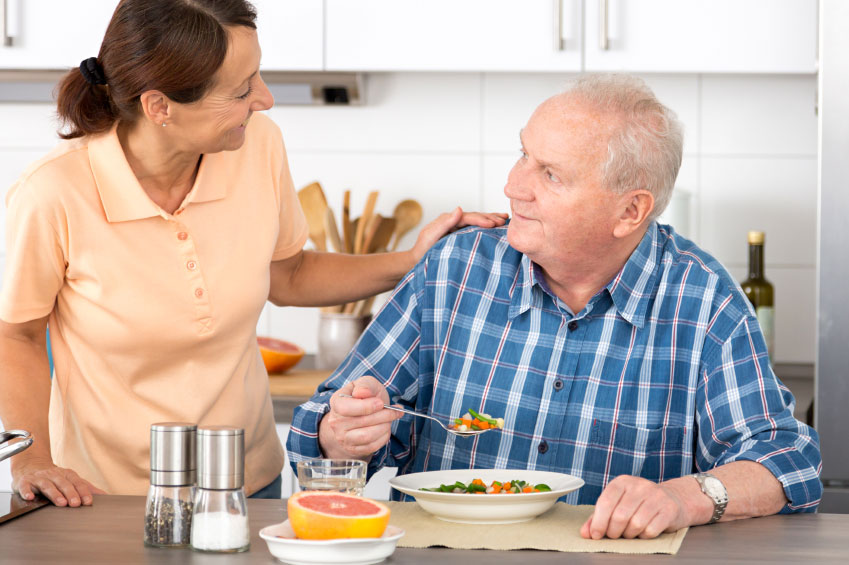 Meal being prepared for elderly man